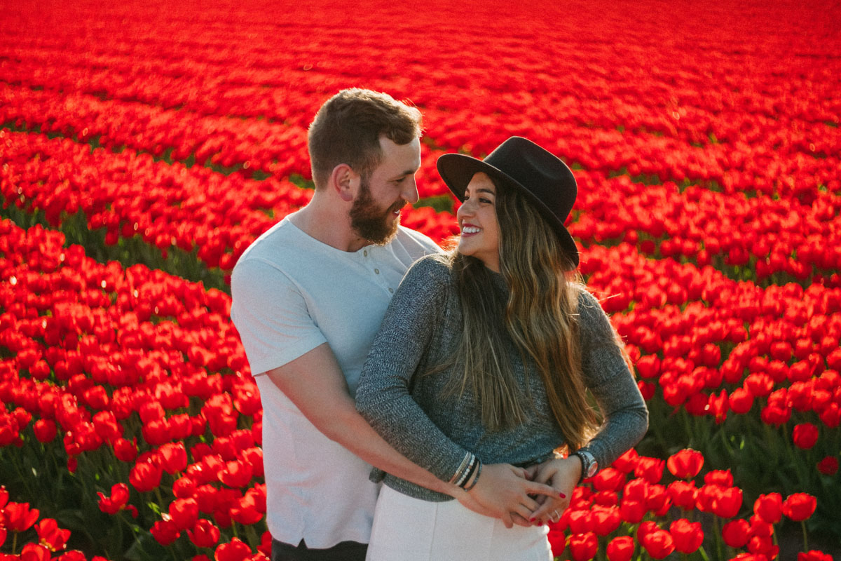 surprise proposal photographer tulip field