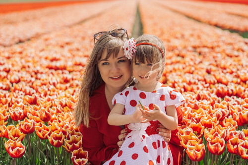 family tulip field photoshoot