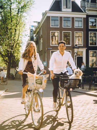 couple with pet photoshoot in amsterdam