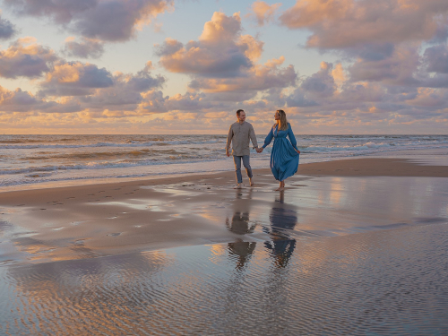 spontane fotoshoot op het strand